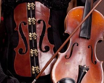 Stradivari corset underbust with violin motif, real leather, tailored, customizable