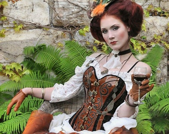 Steampunk, corset, full breast, real leather, bespoke, customizable