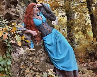 Fantasy dress Elysium with corset, alternative wedding, medieval wedding, medieval dress, bespoke, bespoke