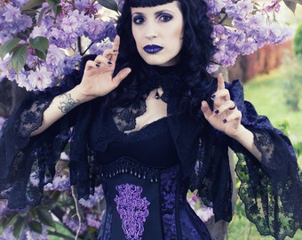 Gothic corset with bolero, underbust, elegantly embroidered, black/purple, tailored, bespoken