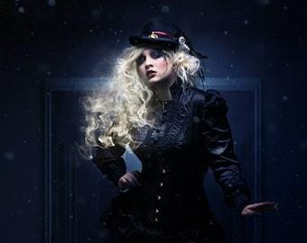 Dark victorian Gothic outfit consisting of corset, blouse & skirt, alternative wedding, bespoke, bespoke, black weddingdress