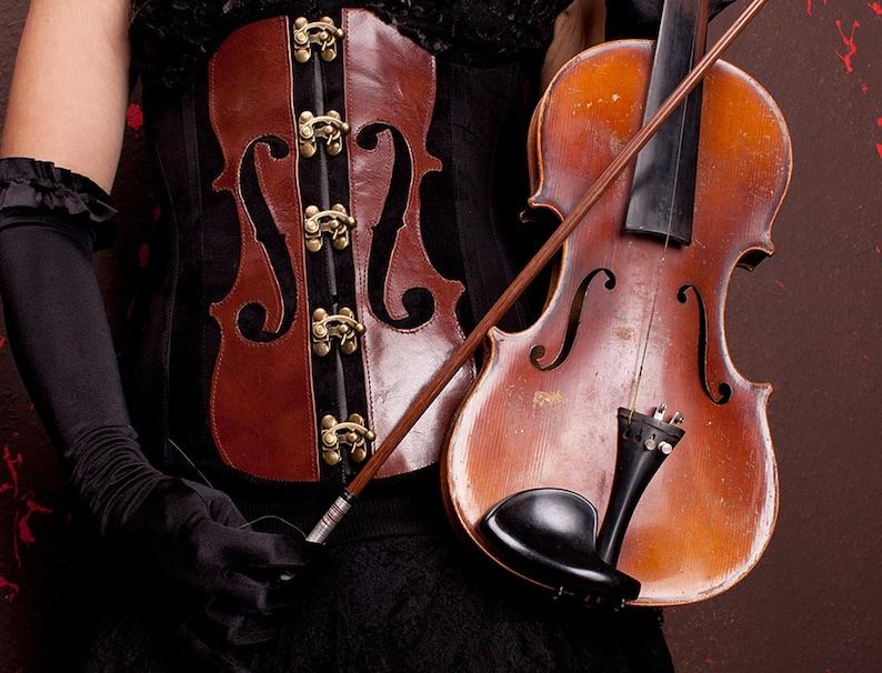 Stradivari corset underbust with violin motif real leather image 1