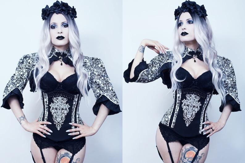 Gothic corset with bolero underbust elegantly embroidered image 1