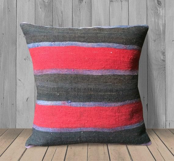 Super Red Gray Purple Kilim Pillow 20X20 Large Couch Pillows Accent Pillow Cover Throw Pillows Boho Wool Pillow Case Stripe Pillow Sham Cover Machost Co Dining Chair Design Ideas Machostcouk