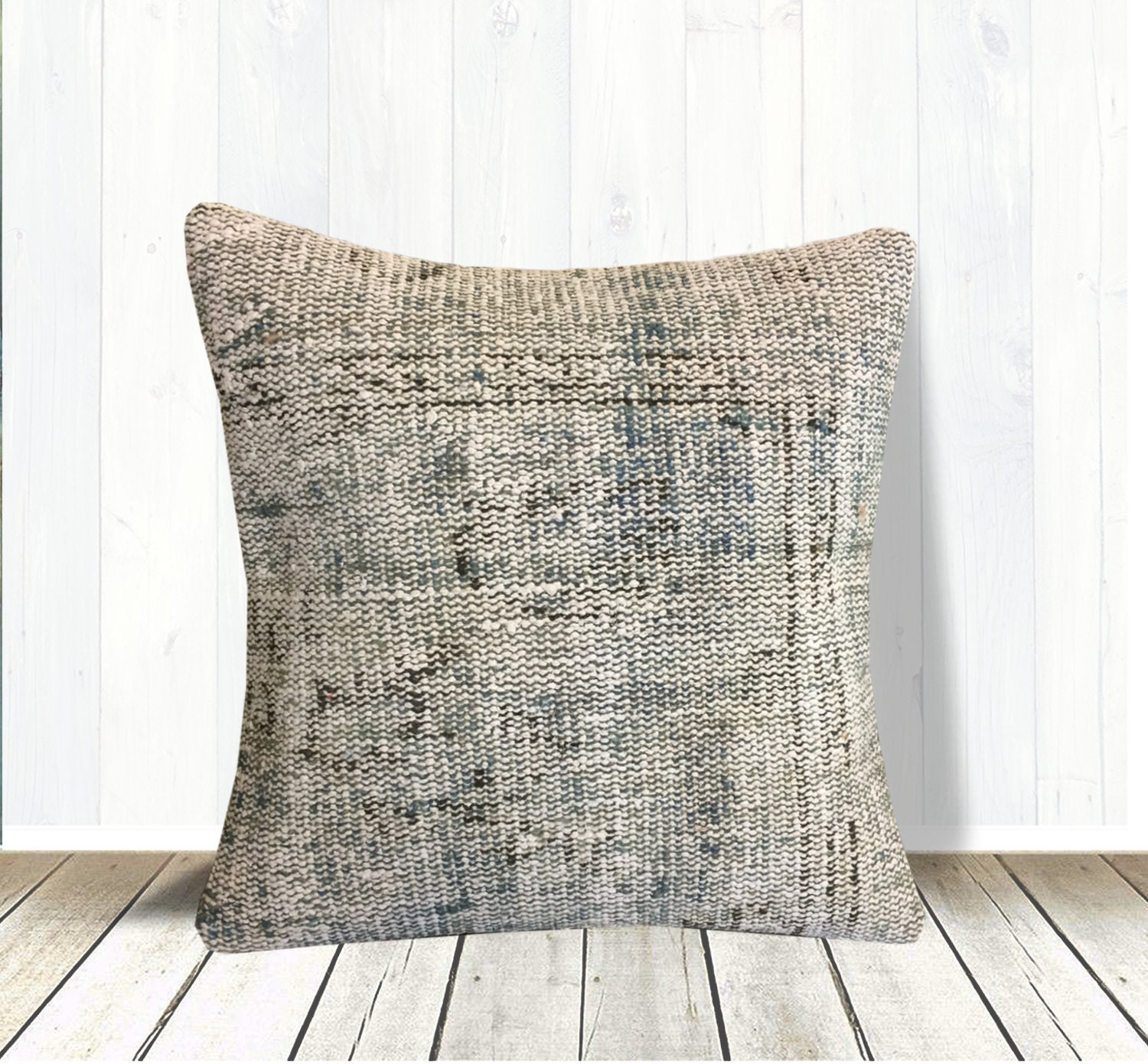 Beige Green Brown Handmade Pillow Case 20x20 Farmhouse Throw Pillow Cover Rustic Pillow Couch Large Floor Pillow Kilim Rug Pillow Cover