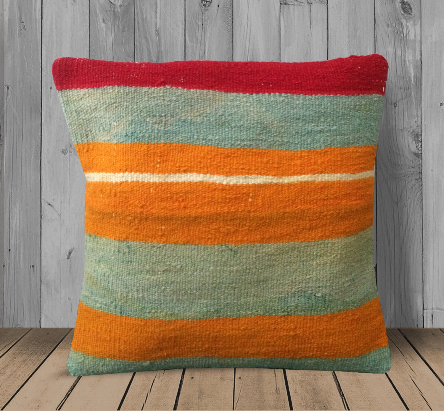 Picture of: Orange Green Red Bohemian Kilim Pillow Cover 16×16 Oversized Etsy