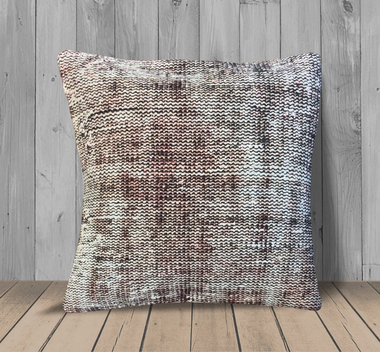 Brown White Decorative Throw Pillows 20x20 Vintage Kilim Pillow Cover Kilim Rug Pillow Farmhouse Pillows Home Decor Pillow For Sofa
