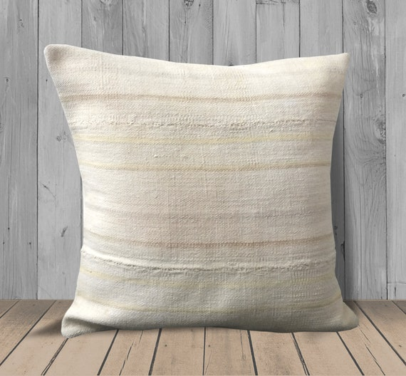 Pleasing Cream White Tan Yellow Striped Pillows 20X20 Large Kilim Pillow Farmhouse Throw Pillow Covers Neutral Decor Hemp Couch Pillow Cushion Gmtry Best Dining Table And Chair Ideas Images Gmtryco