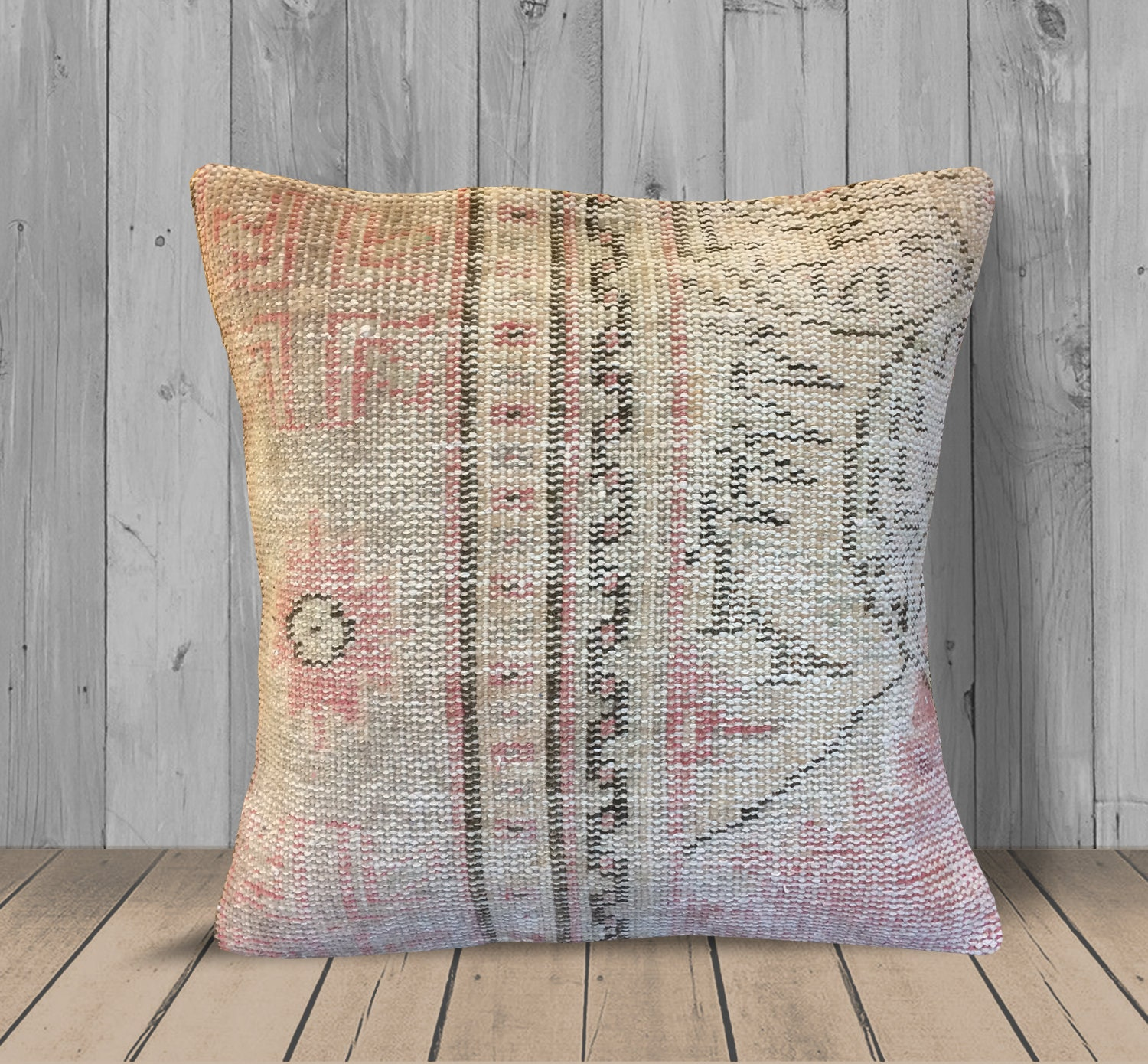 Beige Brown Pink Kilim Pillow Cover 20x20 Floral Farmhouse Throw Pillow Wool Couch Cushion Case Bohemian Rug Pillow Large Turkish Pillow