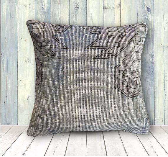 Blue Purple Organic Wool Rug Pillow -20x20 -Kilim Pillow Cover -Large Sofa  Pillows -Couch Throw Pillows Vintage -Rustic Decor Cushion Cover