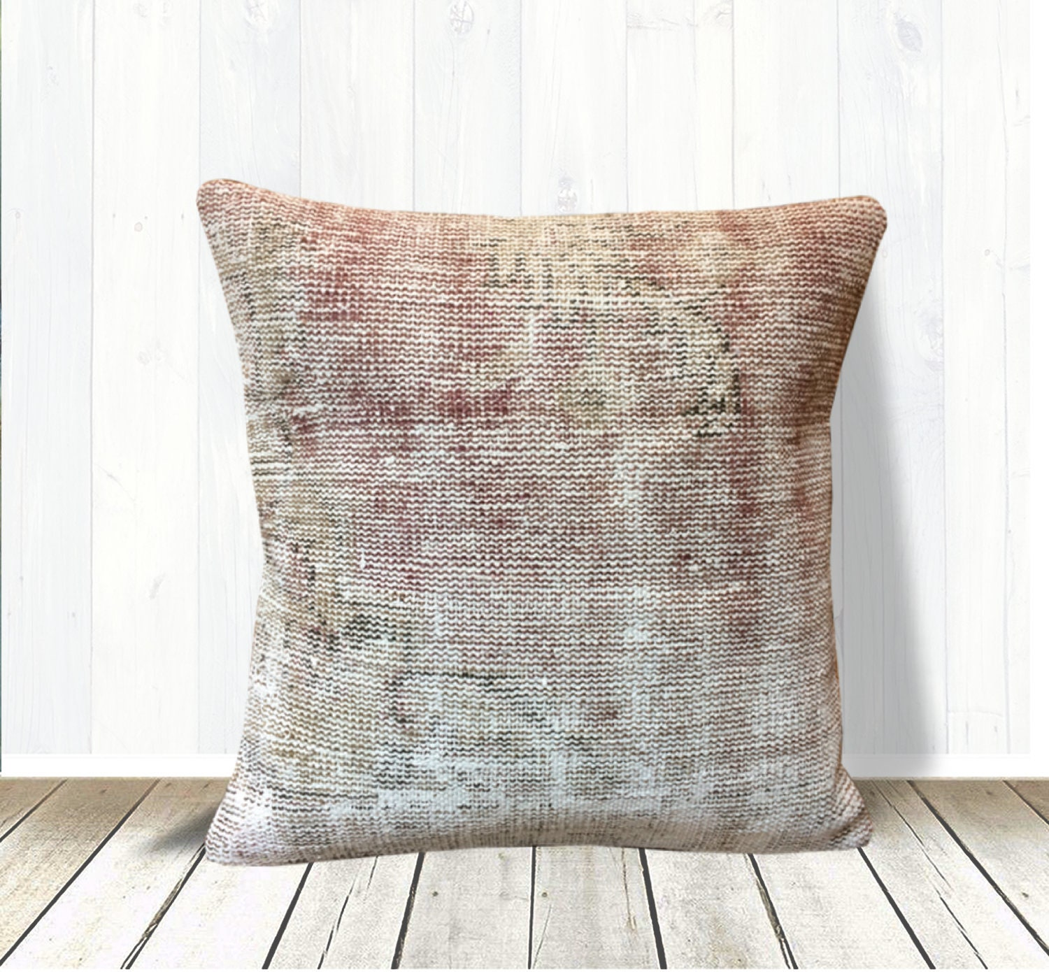 Beige Rose Gold Neutral Kilim Rug Pillow Cover 20x20 Large Farmhouse Pillow Throw Pillows Rustic Decor Couch Pillow Wool Cushion Cover