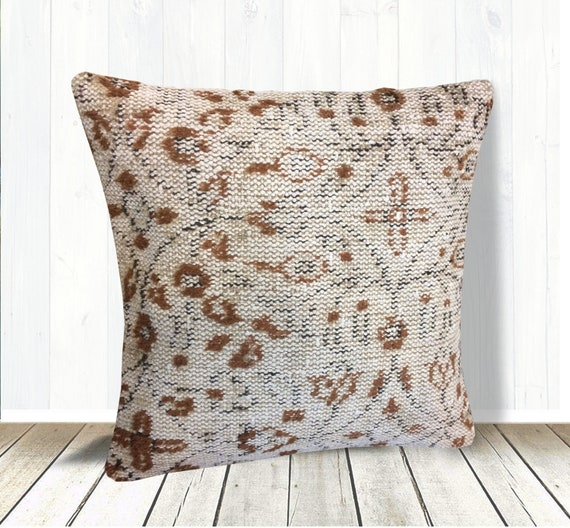 Cool Beige Brown Kilim Pillows Cover 20X20 Bohemian Throw Pillow Couch Pillow Large Floor Cushions Accent Pillow Case Turkish Rug Pillow Gmtry Best Dining Table And Chair Ideas Images Gmtryco