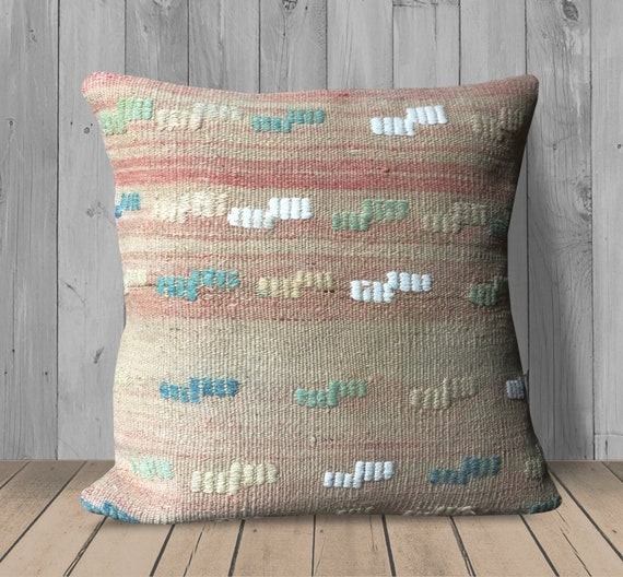 Stupendous Tan Blue Pink Green Embroidered Throw Pillows Cover 20X20 Kilim Pillow Cover Ethnic Pillow Large Couch Pillow Cushion Living Room Decor Gmtry Best Dining Table And Chair Ideas Images Gmtryco