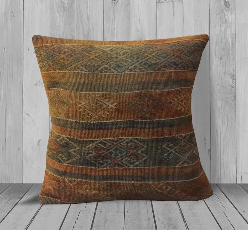 Orange Gray Farmhouse Throw Pillows 20x20 Geometric Kilim Etsy