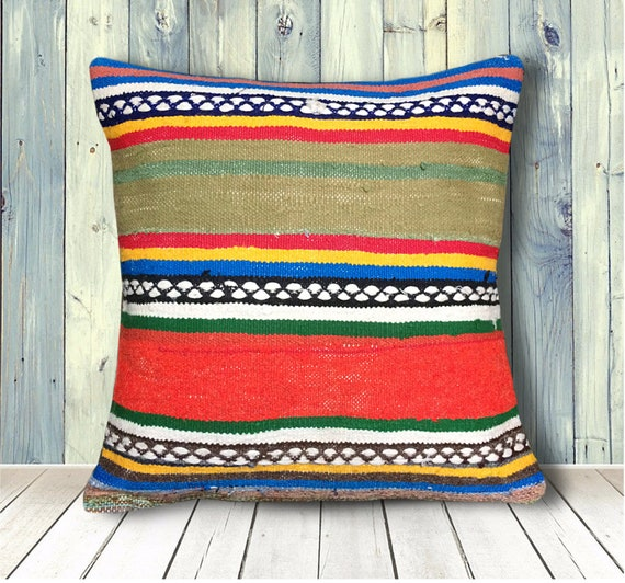 Fabulous Red Green Blue Embroidered Kilim Pillow Covers 20X20 Large Vintage Pillows Couch Anatolian Pillow Case Floor Decor Throw Pillows Boho Pdpeps Interior Chair Design Pdpepsorg