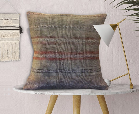 Surprising Striped Tan Burnt Orange Kilim Pillow Covers 20X20 Boho Decor Sofa Throw Pillow Vintage Pillow Case Handmade Large Couch Pillow Cushion Gmtry Best Dining Table And Chair Ideas Images Gmtryco