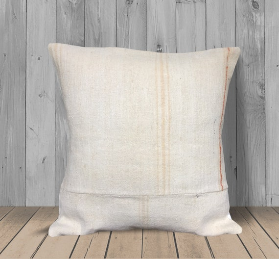 Magnificent Cream White Orange Throw Pillows Covers 20X20 Turkish Kilim Pillow Hemp Pillow Large Couch Pillow Cushion Farmhouse Decor Pillow Tribal Gmtry Best Dining Table And Chair Ideas Images Gmtryco