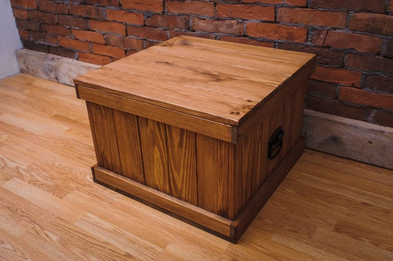 Wooden Chest Trunk Coffee Table Bench Blanket Chest Toy Box Brown Square Wooden Large Trunk