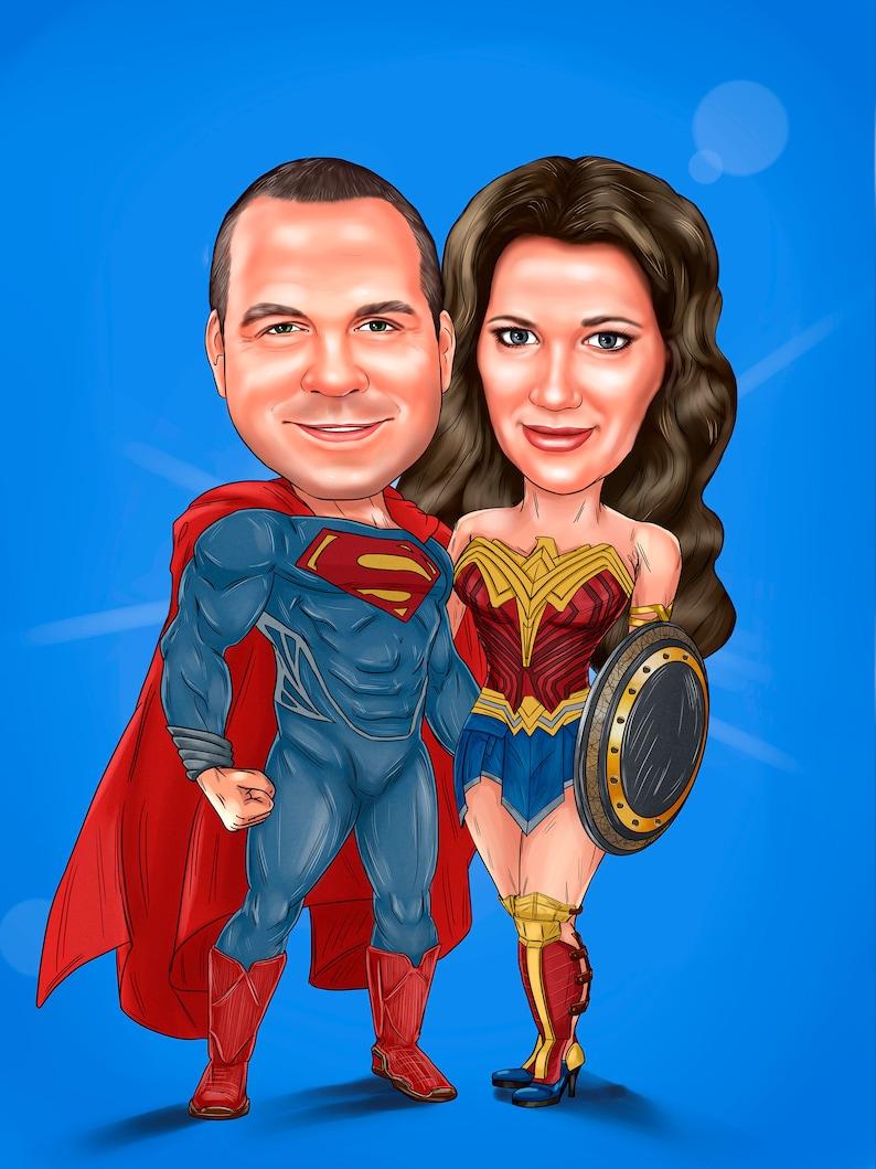 Superheldportrait vom Paar personalisiert vom Foto image 0