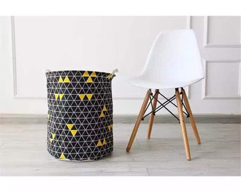 Laundry Hamper Basket Storage Bin Box Bag Cotton Canvas Linen Black And  White Geometric Room Decor Housewarming Gift Paper Planes Decor