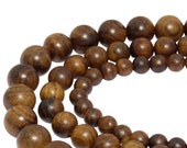 Padouk coral wood beaded balls in 6, 8 10 mm wooden beads strand for mala, chain, bracelet and others wooden jewelry - NATURFARBE -