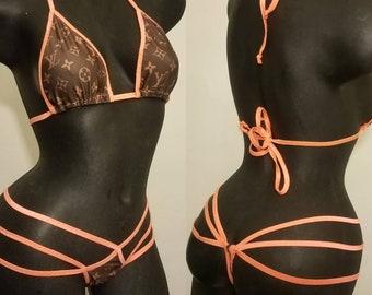 33dfcf3a178df Designer Inspired Two Piece Spider Thong Bikini Louis Vuitton