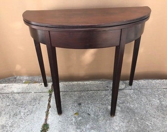 Antique Half Round Game Or Console Table
