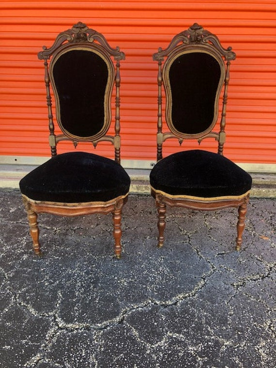 image 0 - Pair Of Antique Rosewood Nursing Chairs Blue Fabric Etsy