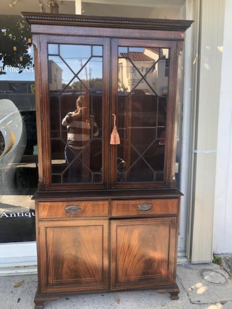 Antique Style English Mahogany Library Bookcase Federal Style Glazed Doors