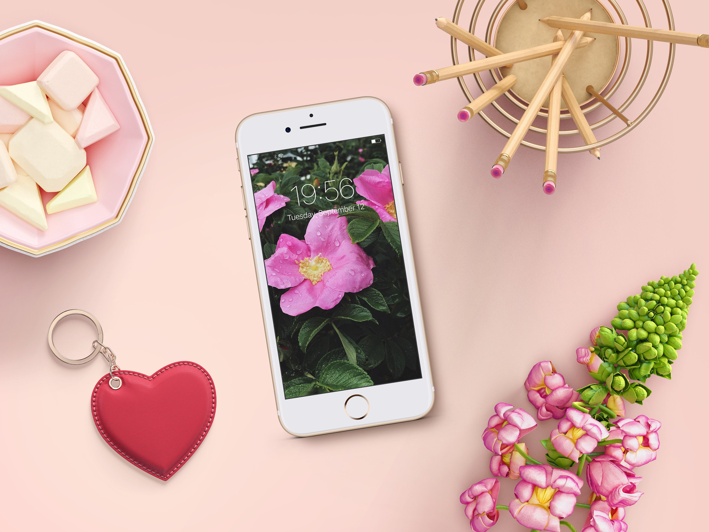 Cell Phone Wallpaper Pink Flowers Iphone Background Etsy