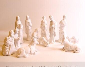 Große Krippenfiguren Aus Gips, 12 Teile