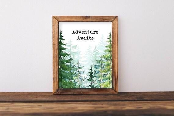 Adventure Awaits Print Adventure Printable Nature Nursery Etsy