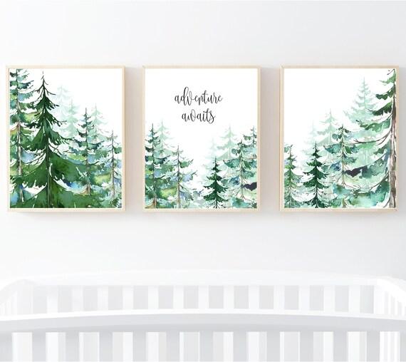Adventure Awaits Print Set Tree Nursery Decor Mountain Etsy