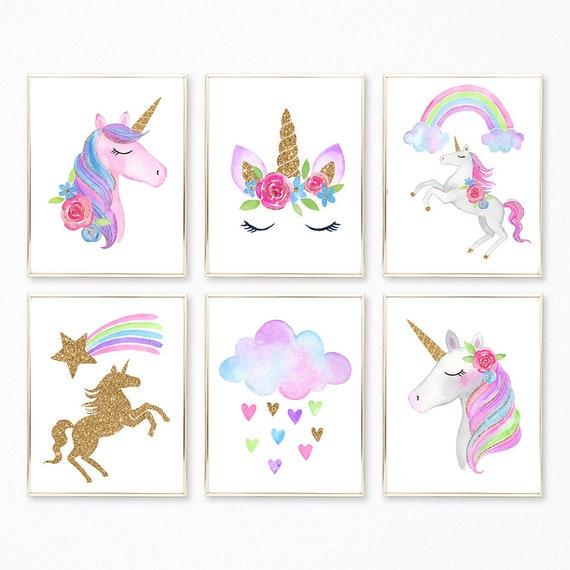 Unicorn Prints Unicorn Print Set Unicorn Wall Art Unicorn ...