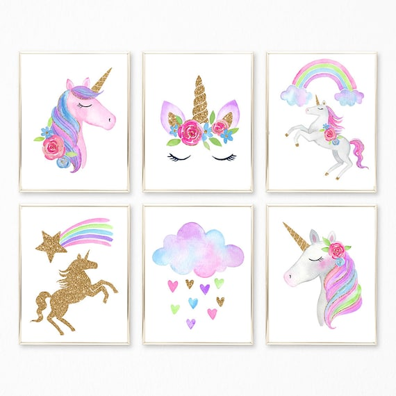 image regarding Printable Unicorn Pictures referred to as Unicorn Prints, Unicorn Print Mounted, Unicorn Wall Artwork, Unicorn Nursery, Women of all ages Unicorn Decor, Unicorn Printable, Unicorn Preset of 6, Unicorn Artwork