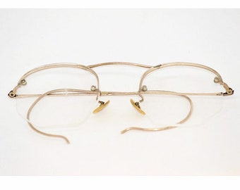 73310c6f2e95 1940's Vintage Eyeglasses Rimless Shuron 12K Gold Filled Glasses Antique  Eyewear