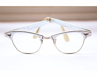 f8a55d92bdde0 Women s Vintage Mid Century Cat Eye Eyeglass Frames Gold Filled Aluminum  Spectacles 44 20 133 Light Blue and Gold