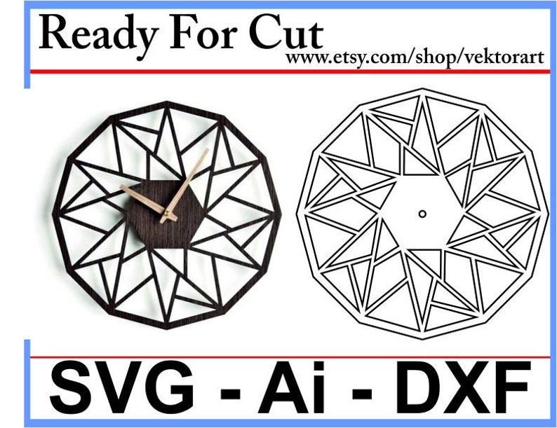 Laser Cut Geometric Wall Clock Template Svg-Dxf Ready For Laser Cut  Resizeable Vector File - Laser Cut Dxf