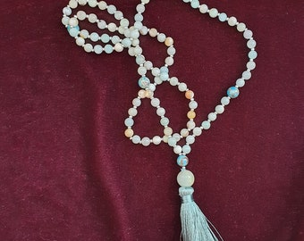 Long amazonite and pearl tassel necklace, blue and white mala style necklace, Zen style Mala, spiritual jewellery, meditation, mindfulness