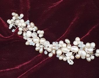 Bespoke pearl bridal hair vine, boho wedding hair accessory, bridal hair accessory, custom made, made to order, head dress for bride