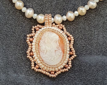 Cultured pearl and cameo choker necklace, romantic Victorian style vintage shell cameo jewellery, Unique handmade jewellery gift for her