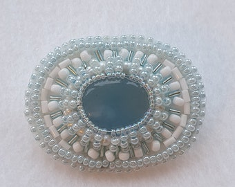 Pretty beaded brooch with aquamarine and freshwater cultured pearls, bead embroidered jewelry, pale blue and white brooch gift idea for her