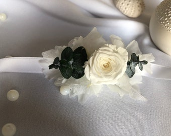 Silver OLYMPE comb in stabilized natural flowers