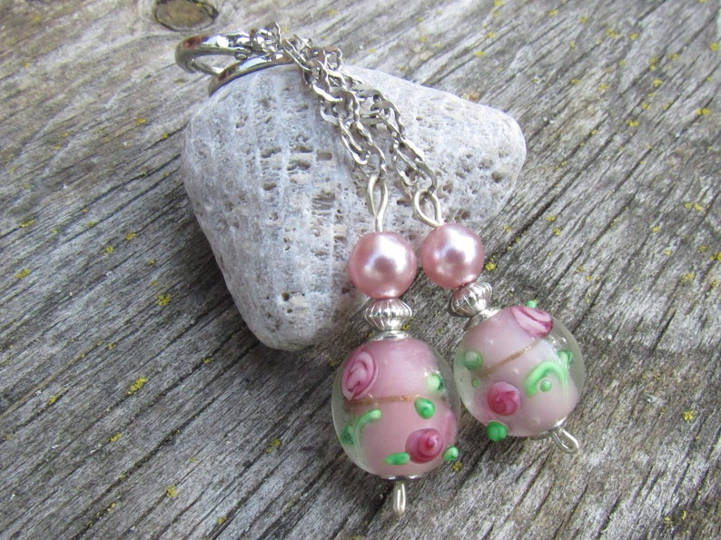 Murano Glass Jewelry Lampwork Earrings Elegant Jewelry Blush Pink Earrings with Flowers and Pearls