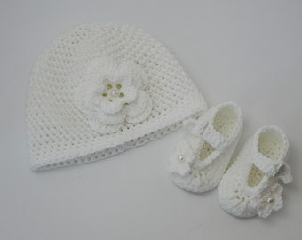 Baby set baptism cap and baby shoes