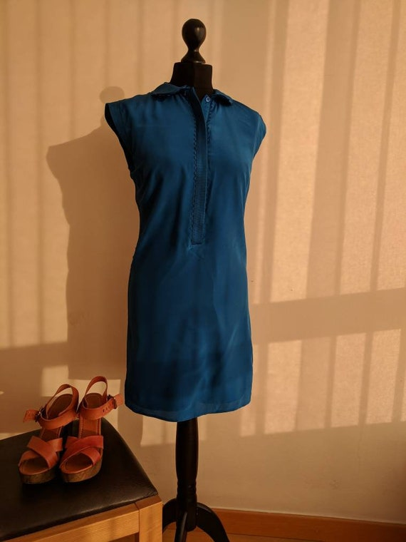 Sleeveless silk Peter Pan collar shirt dress