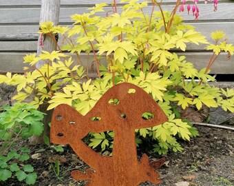 Mushroom Garden Ornament Metal Lawn Stake Decoration 40 cm Magic Fairy Toadstool