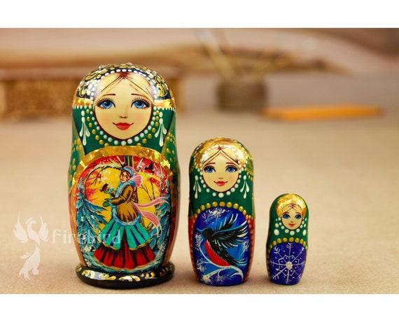 and free gift Matryoshka Russian Hand Painted Wooden Nesting Dolls Tradition Babushka 5 piece 4 10 cm