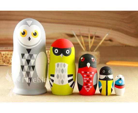 Russian Nesting Set Doll Handmade Matryoshka Wooden Animal Painted Toys S