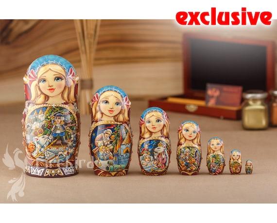5Pcs Skull Basswood Matryoshka Dolls Handmade Russian Nesting Doll Toys Xmas